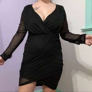 Sirens black v neck mesh long sleeve midi dress